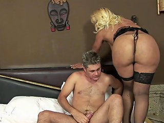 Thick Curvy Tranny Gives Him Head Then Gets Fucked By Him